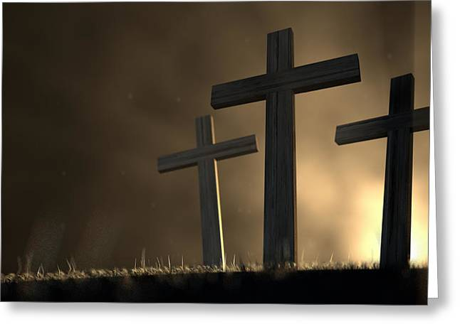 Eerie Greeting Cards - The Early Morning Crucifixion Greeting Card by Allan Swart
