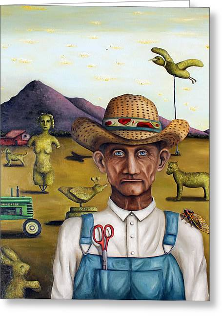 Overalls Greeting Cards - The Eccentric Farmer Greeting Card by Leah Saulnier The Painting Maniac