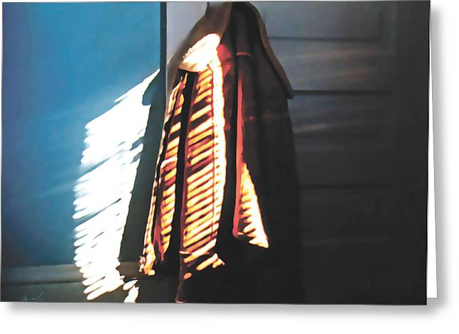 Leather Jackets Greeting Cards - The Echoes Are Calling Greeting Card by The Art of Marsha Charlebois