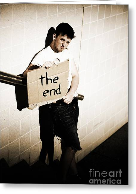 Cardboard Greeting Cards - The End Greeting Card by Ryan Jorgensen