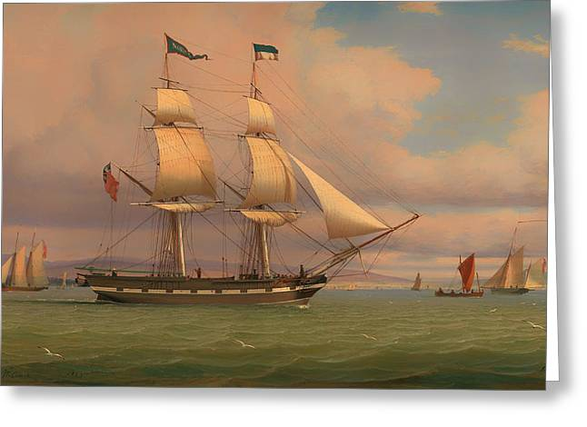 Tall Ships On Water Greeting Cards - The English Brig Norval before the Wind Greeting Card by William Clark