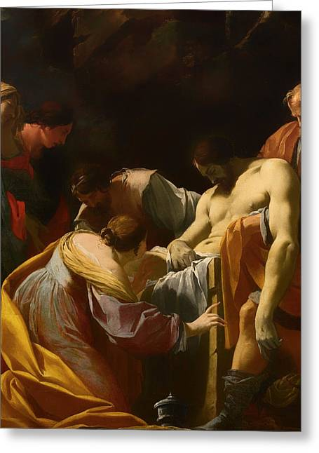 Religious work Paintings Greeting Cards - The Entombment Greeting Card by Simon Vouet