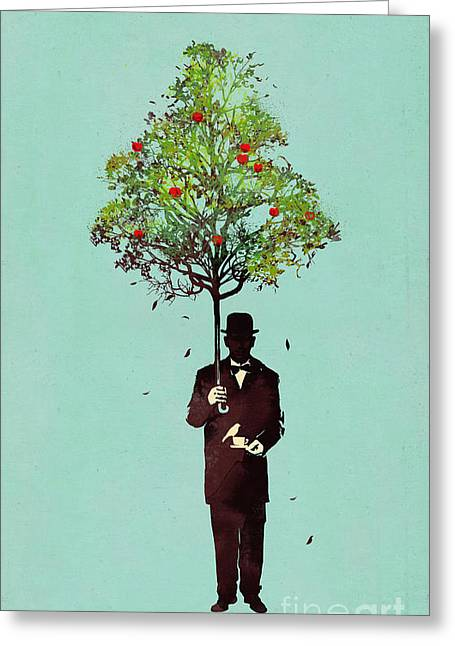 Illustration Greeting Cards - The ethical gentleman Greeting Card by Budi Kwan
