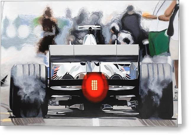 Hamburger Paintings Greeting Cards - The F1 Burger Greeting Card by Marcella Lassen