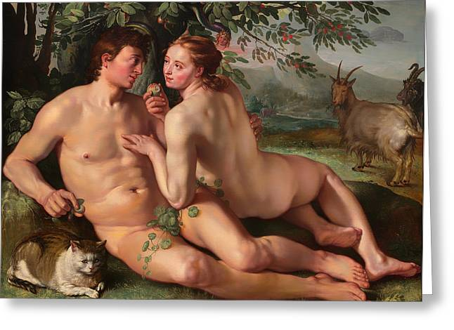 Religious Artwork Paintings Greeting Cards - The Fall of Man Greeting Card by Hendrik Goltzius