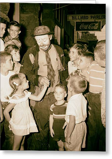 Emmett Kelly Greeting Cards - The Famous Clown Emmett Kelly 1956 Greeting Card by Mountain Dreams