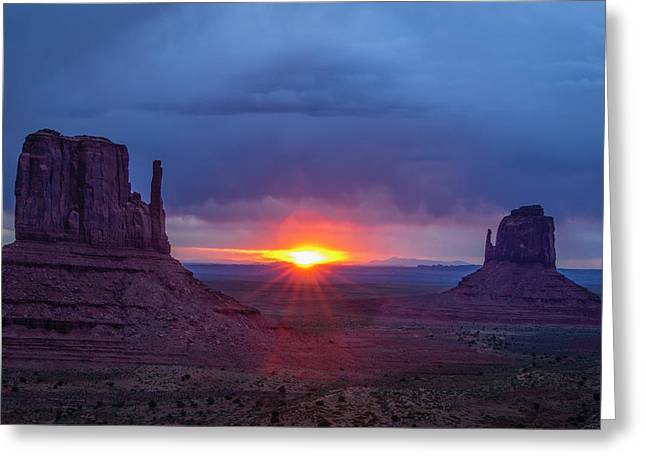 The Famous Red Rock Mittens In Monument Greeting Card by Jerry Ginsberg