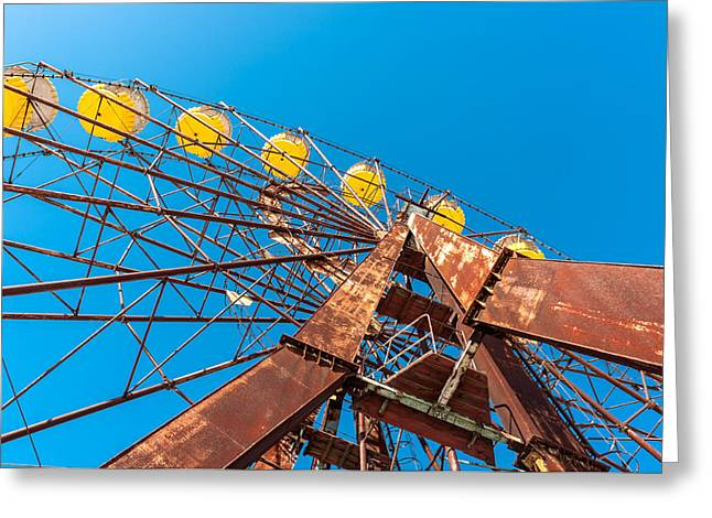 Amusements Pyrography Greeting Cards - The Ferris Wheel in Pripyat Chernobyl 2012 March Greeting Card by Oliver Sved