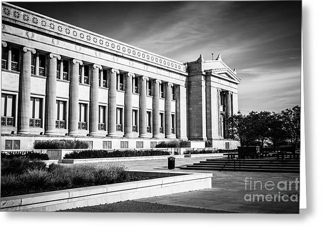 Editorial Greeting Cards - The Field Museum in Chicago in Black and White Greeting Card by Paul Velgos