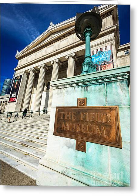 Editorial Greeting Cards - The Field Museum Sign in Chicago Greeting Card by Paul Velgos