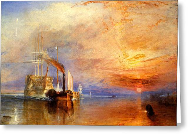 Victorian Greeting Cards - The Fighting Temeraire tugged to her last berth to be broken up Greeting Card by Joseph Mallord William Turner