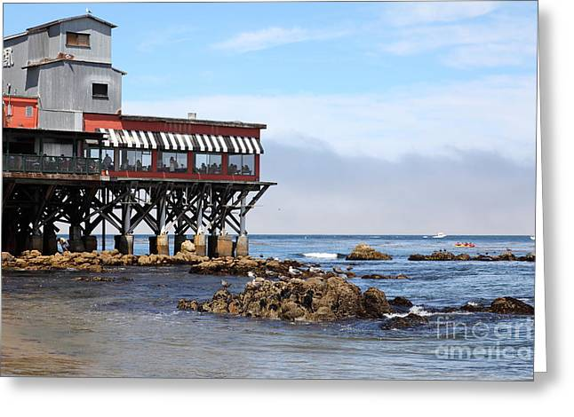 Beaches In Monterey Greeting Cards - The Fish Hopper Restaurant and Monterey Bay On Monterey Cannery Row California 5D25047 Greeting Card by Wingsdomain Art and Photography