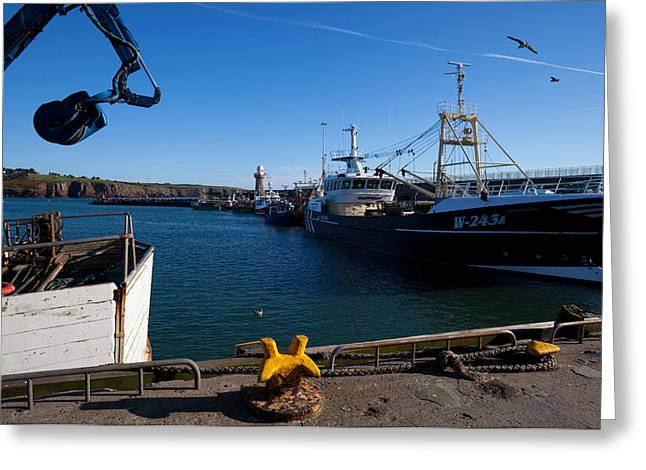 Fishing Port Greeting Cards - The Fishing Harbour, Dunmore East Greeting Card by Panoramic Images