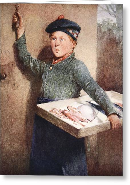 Beret Greeting Cards - The Fishmongers Call Greeting Card by Henry Benjamin Roberts