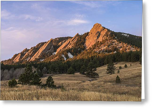 Crag Greeting Cards - The Flatirons Greeting Card by Aaron Spong