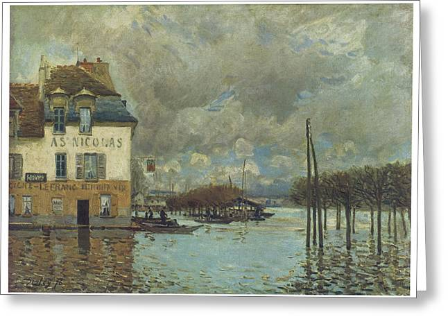 The Flood At Port-marly Greeting Card by Alfred Sisley