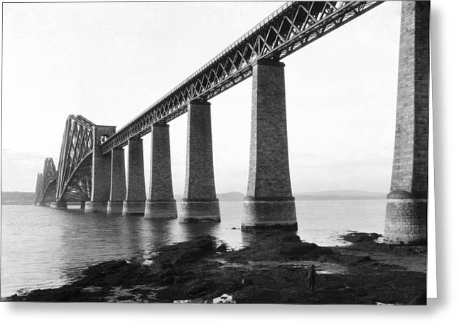 Ripples Of Black And White Greeting Cards - The Forth Bridge Greeting Card by Underwood Archives