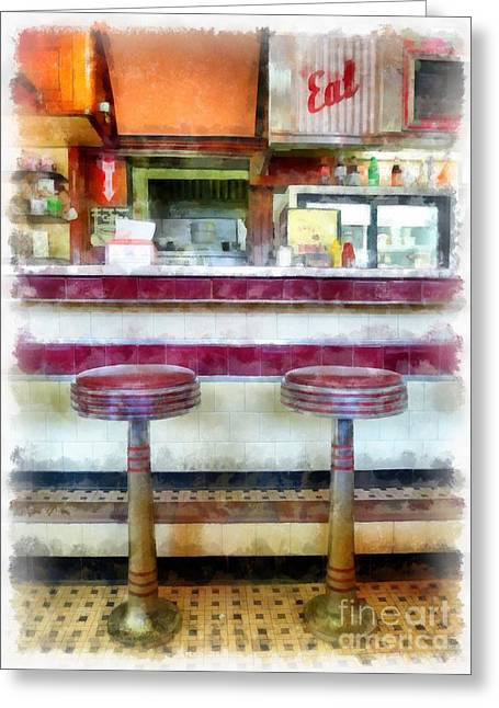 Four Aces Greeting Cards - The Four Aces Diner Greeting Card by Edward Fielding