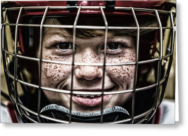 Hockey Helmet Greeting Cards - The Freckle Faced Goalie Greeting Card by Mountain Dreams