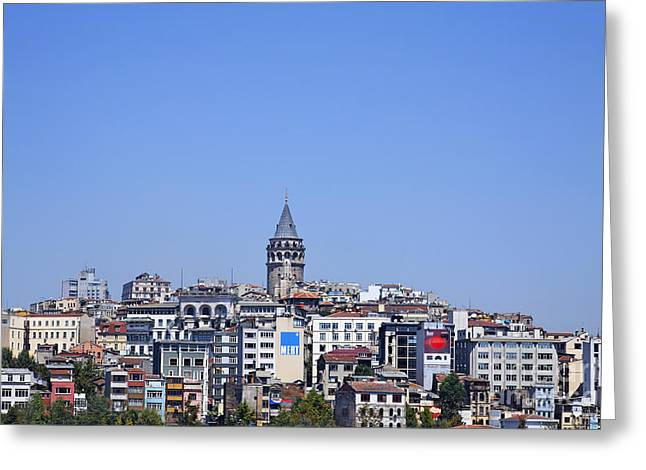 Galata Greeting Cards - The Galata Tower and Istanbul city skyline in Turkey   Greeting Card by Robert Preston