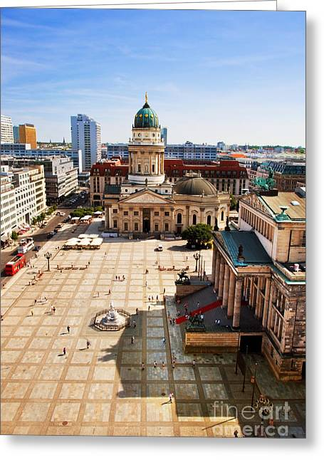 Berlin Cathedral Greeting Cards - The Gendarmenmarkt and German Cathedral in Berlin Greeting Card by Michal Bednarek