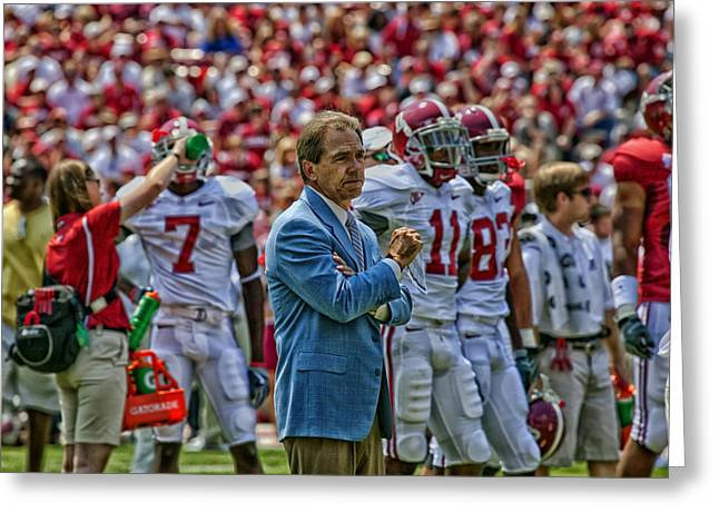 Alabama Crimson Tide Greeting Cards - The Genius of the Tide Greeting Card by Mountain Dreams