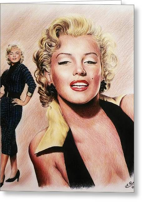 1950s Portraits Greeting Cards - The Glamour days Marilyn Monroe Greeting Card by Andrew Read