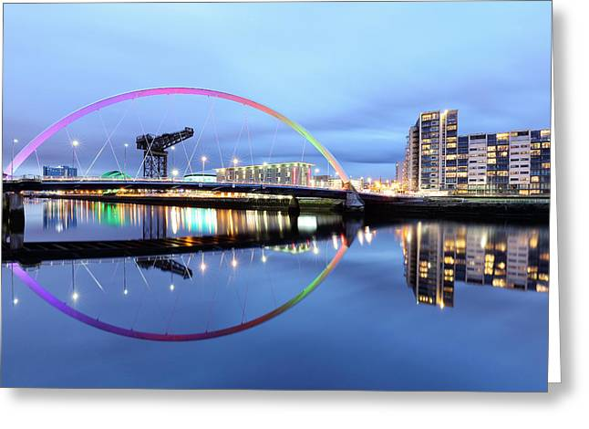 Glasgow Greeting Cards - The Glasgow Clyde Arc Bridge Greeting Card by Grant Glendinning
