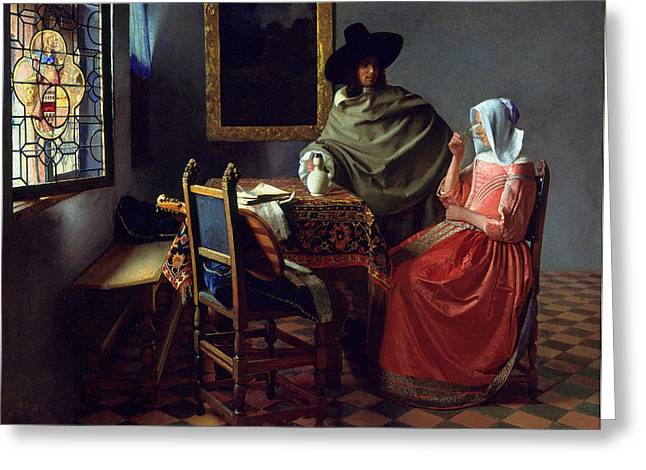 Wine Woman Greeting Cards - The Glass of Wine Greeting Card by Johannes Vermeer