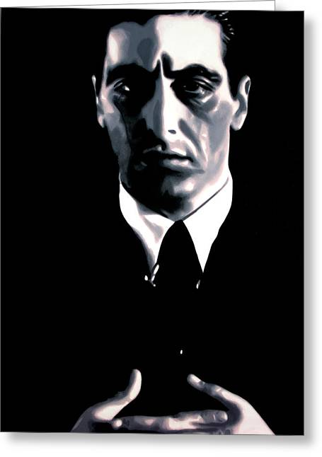 Mob-drama Film Greeting Cards - The Godfather Greeting Card by Luis Ludzska