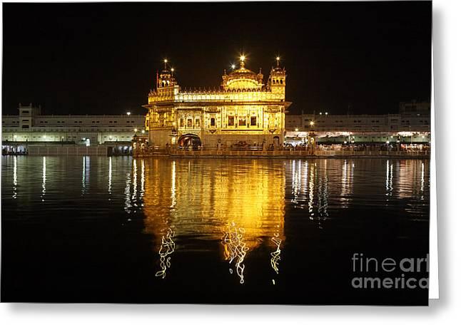 Punjab Greeting Cards - The Golden Temple at Amritsar at night Greeting Card by Robert Preston