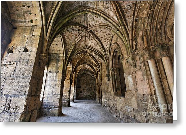 Chevalier Greeting Cards - The gothic cloisters inside the crusader castle of Krak Des Chevaliers Syria Greeting Card by Robert Preston