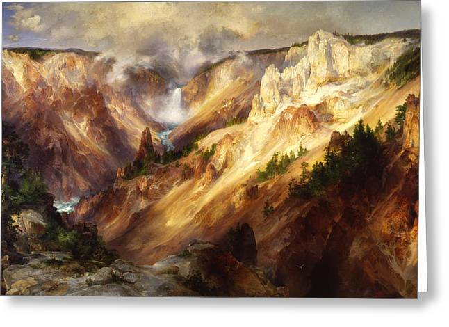 The Grand Canyon Greeting Cards - The Grand Canyon of the Yellowstone Greeting Card by Thomas Moran