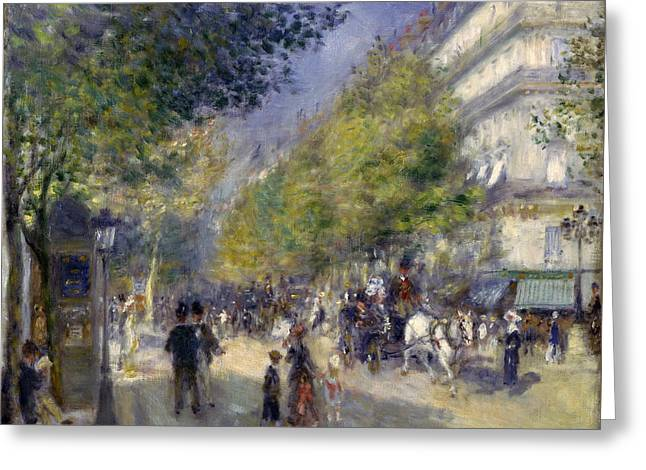 Renoir Greeting Cards - The Grands Boulevards Greeting Card by Pierre-Auguste Renoir