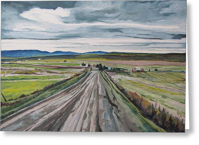 Gravel Road Paintings Greeting Cards - The Gravel Road LaPatrie Quebec Canada Greeting Card by Francois Fournier