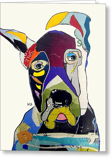 Fine Mixed Media Greeting Cards - The Great Dane Greeting Card by Bri Buckley