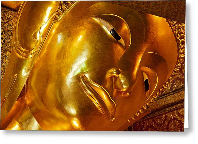 Piety Greeting Cards - The Great Reclining Buddha Greeting Card by Kristin Lau