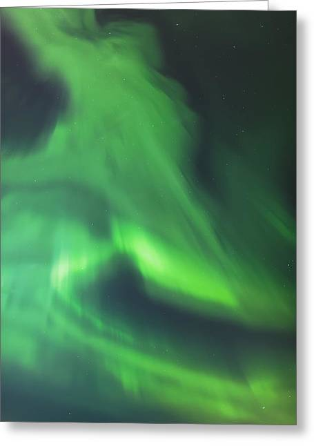 Awe Inspiring Greeting Cards - The Green Northern Lights Corona Greeting Card by Kevin Smith