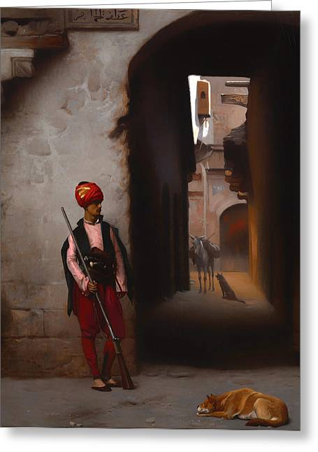 Guard Dog Paintings Greeting Cards - The Guard Greeting Card by Jean-Leon Gerome