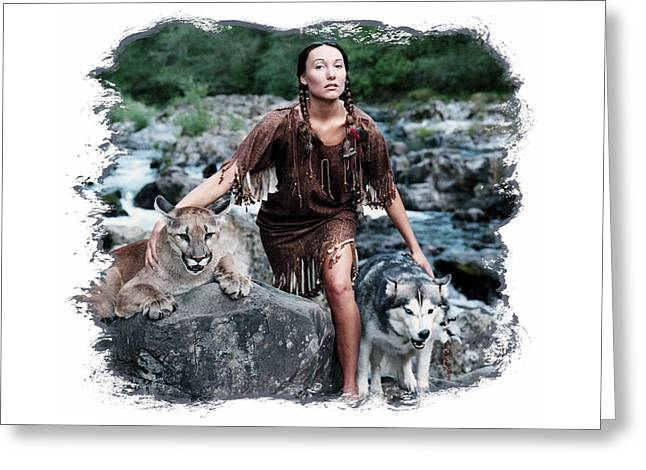 Native American Nude Woman Greeting Cards - The Guardians Greeting Card by Ken Evans