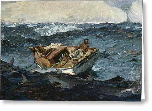 Fishing Boats Greeting Cards - The Gulf Stream Greeting Card by Winslow Homer