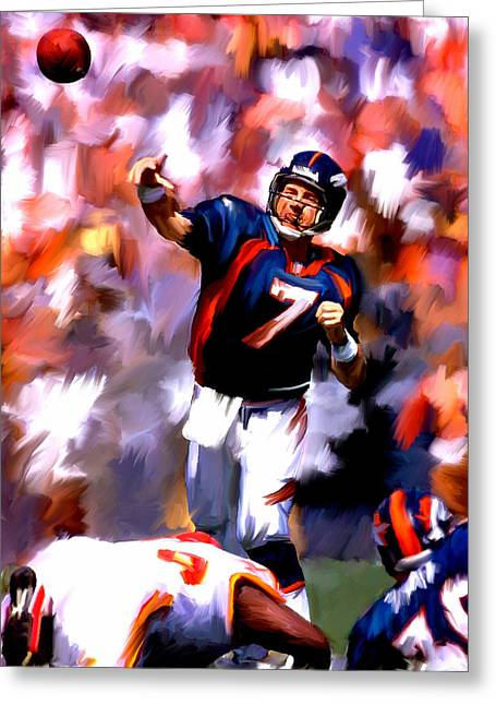 Lithograph Drawings Greeting Cards - The Gun John Elway Greeting Card by Iconic Images Art Gallery David Pucciarelli