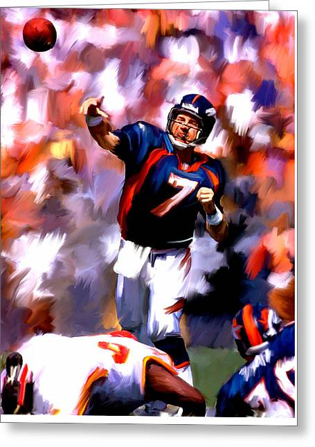 Elway Greeting Cards - The Gun III John Elway Greeting Card by Iconic Images Art Gallery David Pucciarelli