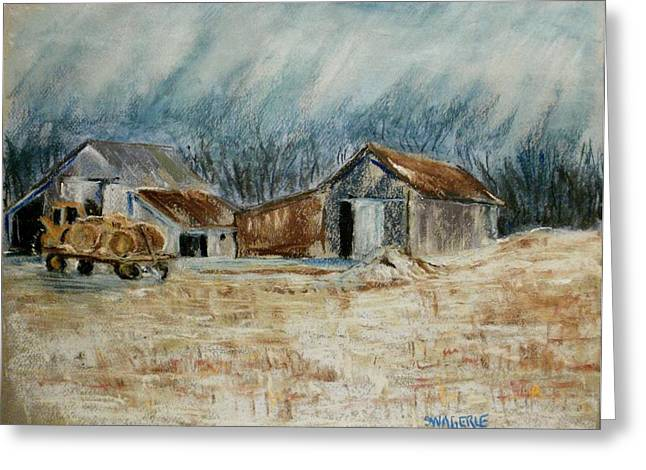 Wagon Pastels Greeting Cards - The Hay Wagon Greeting Card by Tim  Swagerle