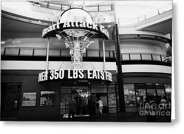 Freemont Street Greeting Cards - the heart attack grill restaurant freemont street downtown Las Vegas Nevada USA Greeting Card by Joe Fox
