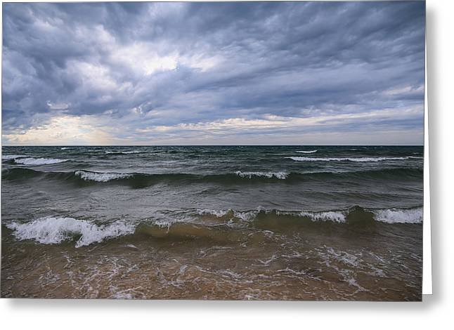 Turbulent Skies Greeting Cards - The Heavens Opened Greeting Card by Rachel Cohen