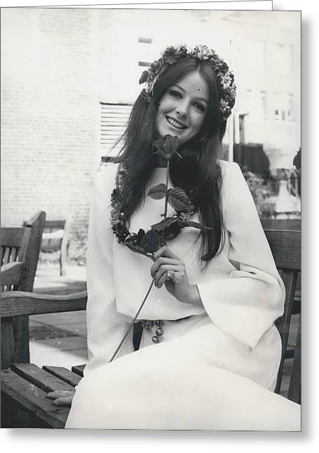 Retro Photography Greeting Cards - The Hippy Cult In Bridal Wear Greeting Card by Retro Images Archive