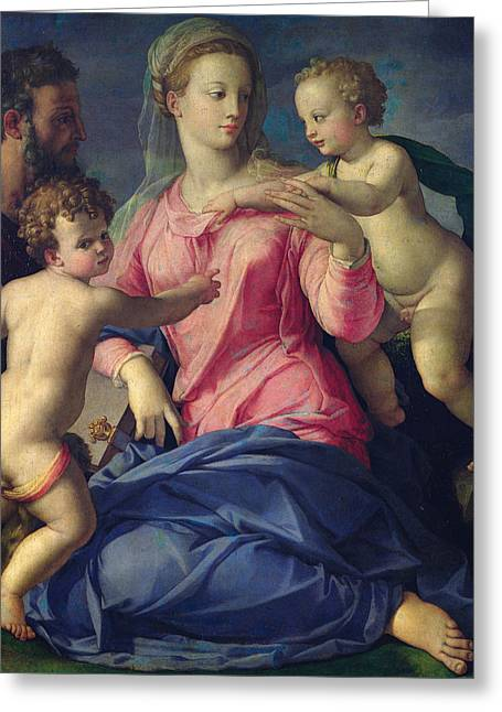 The Holy Family Greeting Card by Agnolo Bronzino