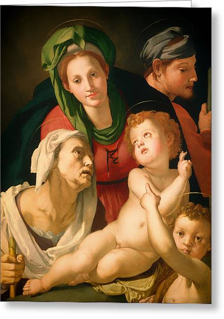 Religious Artwork Paintings Greeting Cards - The Holy Family Greeting Card by Bronzino