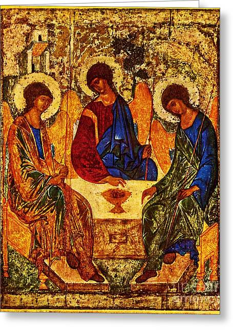 Rublev Trinity Greeting Cards - The Holy Trinity Greeting Card by Andrei Rublev